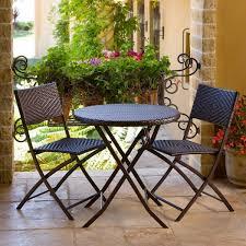 3 Piece Outdoor Bistro Patio Furniture Set In EspressoThree Piece Outdoor Furniture
