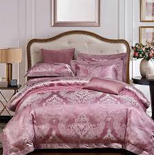 luxury dark purple bedding sets satin duvet cover jacquard bedspreads sheets king queen size bed in
