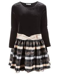 Big Girls Plus Size Velvet Striped Dress