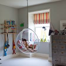 Playroom with hanging Perspex chair