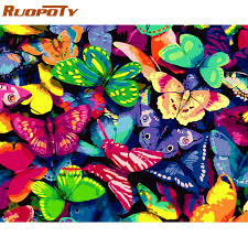 RUOPOTY Frame Butterfly <b>DIY Painting By</b> Numbers Kits Modern ...