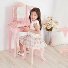 teamson kids childrens pink wooden vanity table stool dressing mirror td 11670l