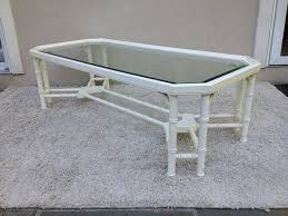 faux off white bamboo cross bar bottom beveled glass top coffee table in the style