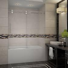 completely frameless sliding tub door in stainless