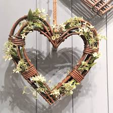 Large Wicker Heart With Lights Tutti Decor Gisela Graham Large Natural Wicker Heart Wreath Christmas Wedding Home 50cm