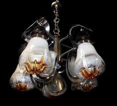 chromed 5 light chandelier in murano glass from mazzega 1970s 2