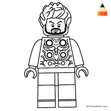 Coloring Page For Kids Thor Lego Drawing Crafting Thor Drawing
