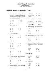 Soal ulangan harian kelas 5 tema 4 subtema 1 dan kunci jawaban soal dan jawaban ulangan soal uts/pts kelas 2 semester 1 sd/mi tahun 2020 soal uts/pts kelas 2 semester 1 (ganjil) untuk tingkat sd/mi tahun pelajaran 2020/2021 me. Soal Matematika Uts Smp Kelas Vii