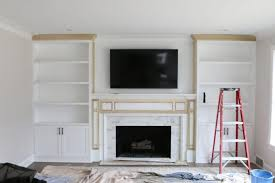 white built ins around the fireplace before and after the diy throughout lovely built