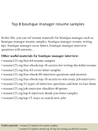 Boutique Owner Resume Top 8 Boutique Manager Resume Samples