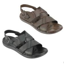 <b>Mens</b> Real Leather <b>Sandals Buckled</b> Strap back <b>Summer</b> Walking ...