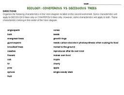 Angiosperm Vs Gymnosperm Venn Diagram Biology Coniferous Vs Deciduous Trees By Lil Purty Bird Prints