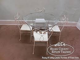 vintage wrought iron round glass top patio table chair dining set