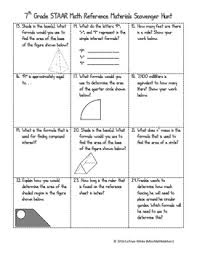 7th Grade Math Staar Reference Chart 7th Grade Math Staar Reference Sheet Scavenger Hunt