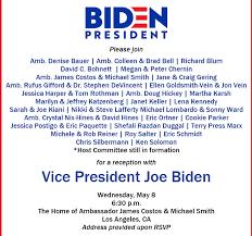 Political Fundraising Invitations Joe Biden Brings In 700 000 At Hollywood Fundraiser