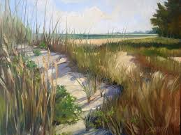 cory wright oil painting landscape beach sand dunes grass path