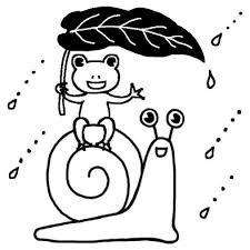 かたつむりとカエル梅雨夏の季節6月の行事無料白黒イラスト素材