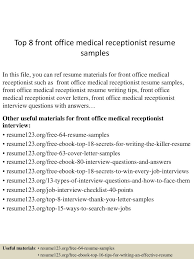 100 Receptionist Resume Duties Medical Administrative
