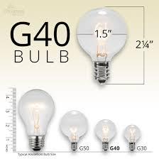 50u0027 patio string with 50 g40 clear globe lights globe light bulb sizes t59 bulb