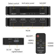 HDMI 2.0 Switch HDR 4K 60Hz HDMI Switcher 4 in 1 out with remote HDMI  switch splitter for PS5 PS4 pro Apple TV|HDMI Cables