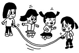 大縄跳びを遊ぶ子どものイラスト 白黒ヤギさん フリー素材イラスト