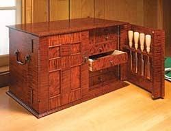 custom wooden tool box. link type: free plans | wood source: woodsmith fix link? custom wooden tool box