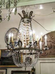 marvelous century french empire bronze and crystal basket chandelier photo design