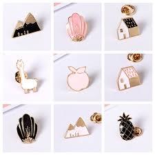 PY Enamel Cartoon Pineapple Apple <b>Snow</b> Mountain Pin Badges ...