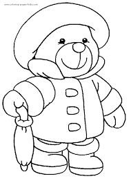 Small Picture Teddy bear with rain clothes color page