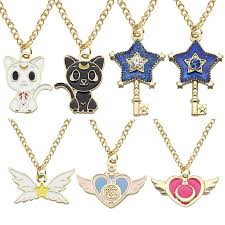 whole whole hot anime sailor moon jewelry cat star key heart wings charm pendants necklaces enamel crystal stars wings choker necklace colar small