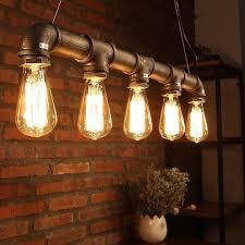 industrial pendant lighting ceiling lights metal pipe retro loft chandelier light fixtures