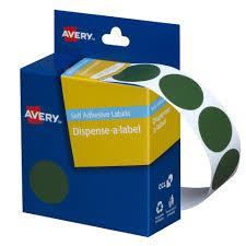 Avery Green Circle Dispenser Labels 24mm Diameter 500 Labels
