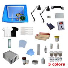 full set 4 color silk screen printing press materials kit screen printing supply