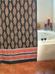 kilim noir black gold indian tapestry cotton shower curtain
