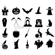 halloween silhouette icons vector graphic