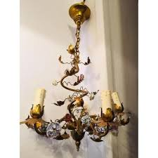 chandelier metal gilded and porcelain flowers 20th century