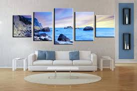 large panel wall art 5 piece wall art living room art blue ocean multi panel art