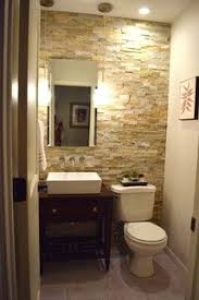 Small powder room design Incredible Love The Stone Accent Wall By Desert Quartz Stone Tile From Lowes The Interlocking Tiles Dont Require Any Grout Michelle Crouch Tiny Powder Room Pinterest 49 Best Tiny Powder Room Ideas Images Bathroom Ideas Small Shower