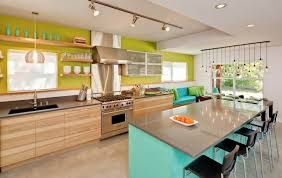 colorful kitchen ideas.  Kitchen Teal Island And Black Mid Century Modern Chairs Using Grey Counter For Colorful  Kitchen Ideas