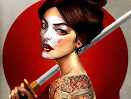 арт девушка лицо взгляд волосы оружие рука тело спина тату Hd обои