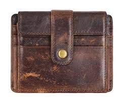 Vintage <b>Men's Wallet Genuine Leather</b> Bifold Hasp Cards Double ...