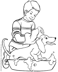 Small Picture Dog Coloring Pages Printable Happy Dog Bath coloring page sheet