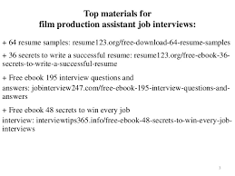 Film Production Assistant Resume Sample Pdf Ebook Free Download