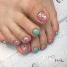 春夏旅行フットワンカラー Lumianailのネイルデザインno4238397