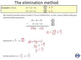 aims to be able solve a pair of simultaneous linear equations 4 elimination method solve the following system