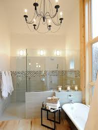 bathrooms small bathroom with white bathtub and shower cubical space also vintage bathroom chandelier modern