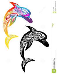 татуировка 2 дельфинов иллюстрация вектора иллюстрации