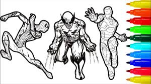 Will iron man or captain america reign supreme in a showdown of superhero costume color palettes? Spiderman Iron Man Hulk Wolverine Captain America Coloring Pages Youtube