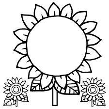 わく1白黒ヒマワリ花枠ふきだし無料イラスト素材