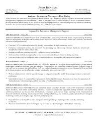 Assistant Manager Resume Template Restaurant Management Resumes